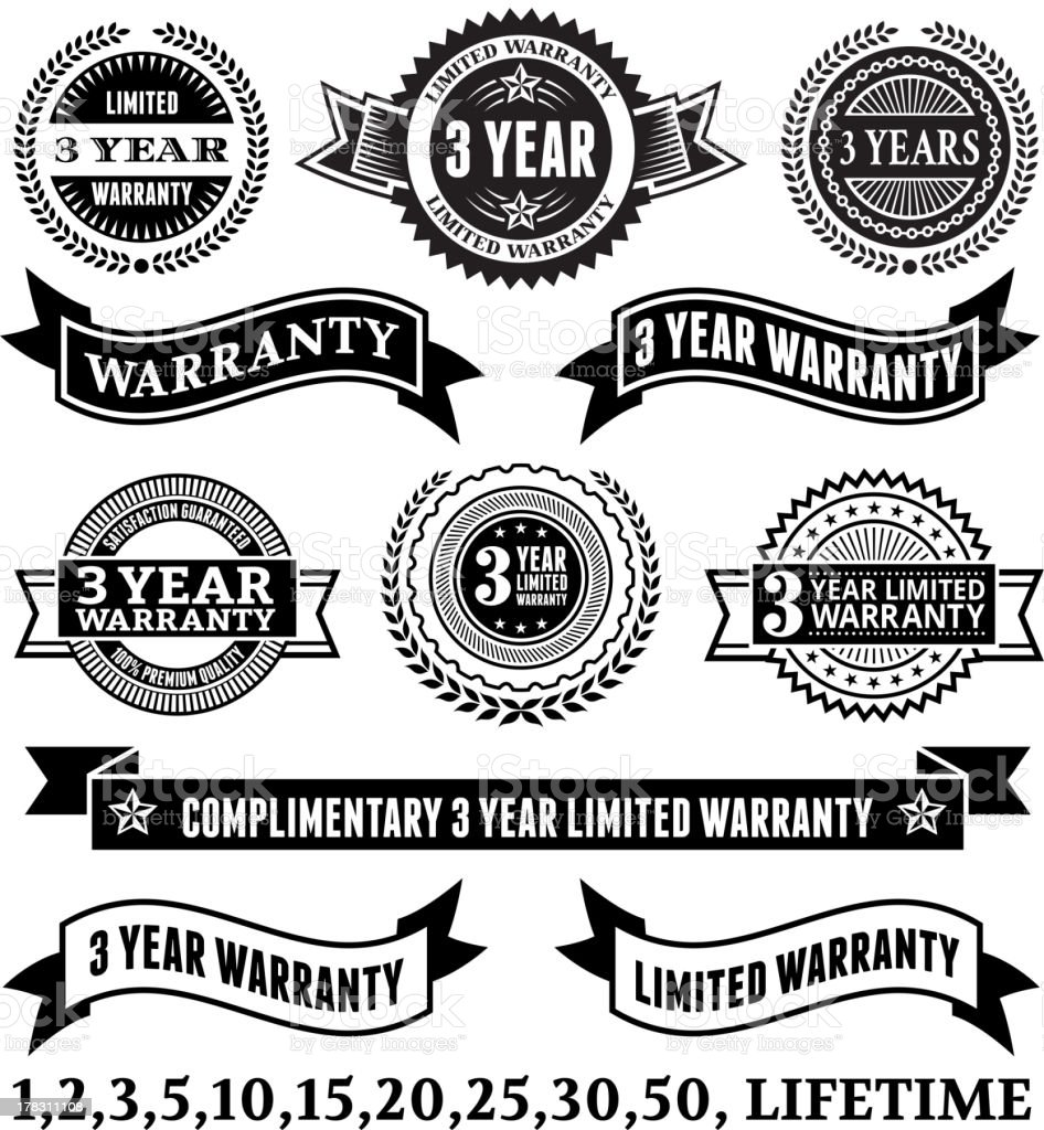Limited Warranty Badge Collection royalty-free stock vector art