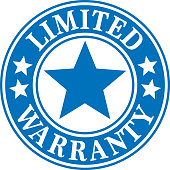 Vector illustration of a blue and white limited warranty label.