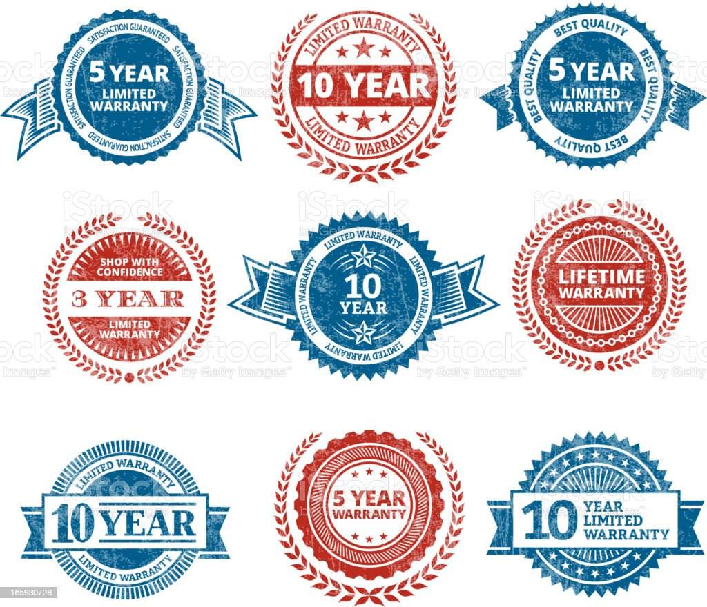 Limited Warranty quality stamp royalty free vector icon set royalty-free stock vector art