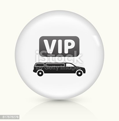 VIP Limo Icon on simple white round button. This 100% royalty free vector button is circular in shape and the icon is the primary subject of the composition. There is a slight reflection visible at the bottom.