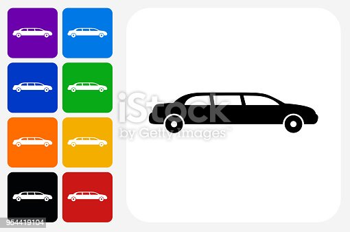 Limo Icon Square Button Set. The icon is in black on a white square with rounded corners. The are eight alternative button options on the left in purple, blue, navy, green, orange, yellow, black and red colors. The icon is in white against these vibrant backgrounds. The illustration is flat and will work well both online and in print.