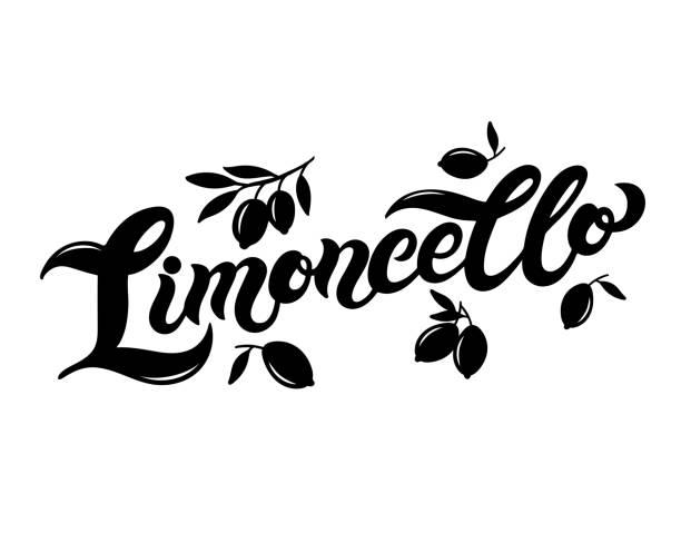 illustrazioni stock, clip art, cartoni animati e icone di tendenza di limoncello. the name of italian lemon liquor - amalfi