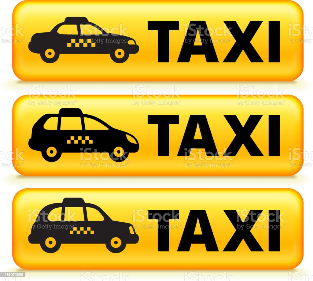 Limousine and Taxi royalty free vector icon set vector art illustration