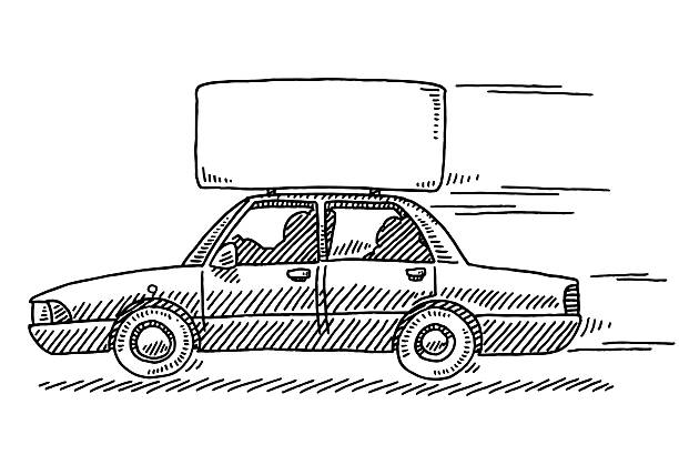 Limousine Car Advertising Sign On Roof Drawing Hand-drawn vector drawing of a driving Limousine Car with an Advertising Sign On the Roof, Side View. Black-and-White sketch on a transparent background (.eps-file). Included files are EPS (v10) and Hi-Res JPG. transportation stock illustrations
