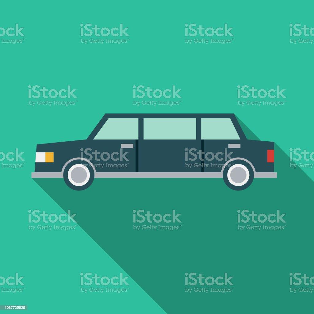 Limousine flach Designikone Prom – Vektorgrafik