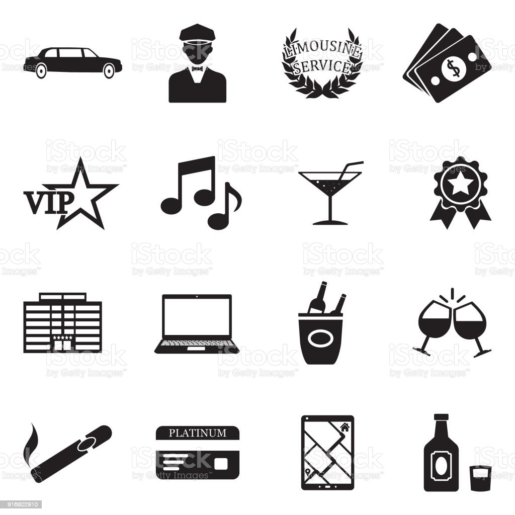 Limousine Icons. Black Flat Design. Vector Illustration. vector art illustration