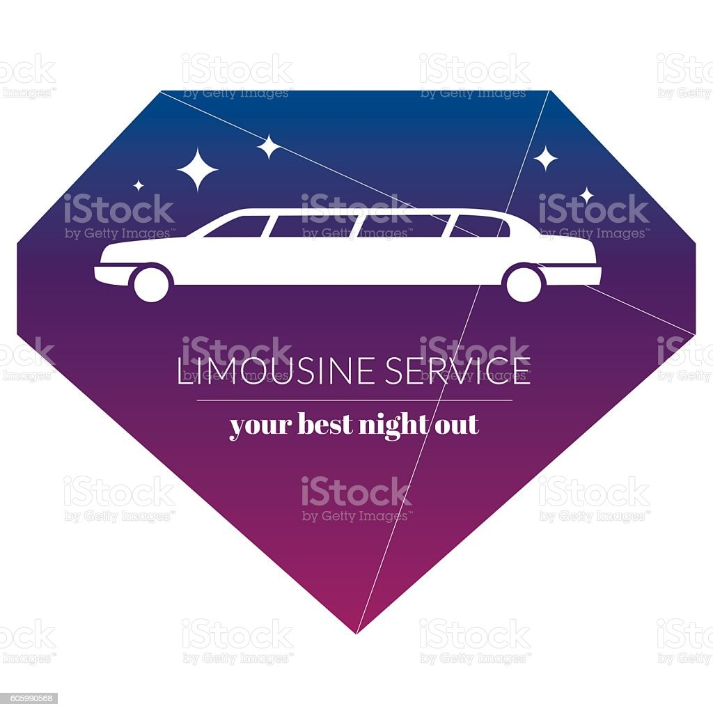 Limousine night service graphic icon sign in chrystal shape. vector art illustration