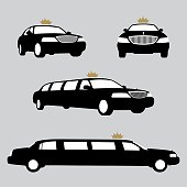 Limousines silhouettes collection. Vector illustration. EPS10 layers (removeable) and alternate formats (hi-res jpg, pdf)