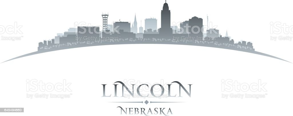 Lincoln Nebraska city skyline silhouette vector art illustration
