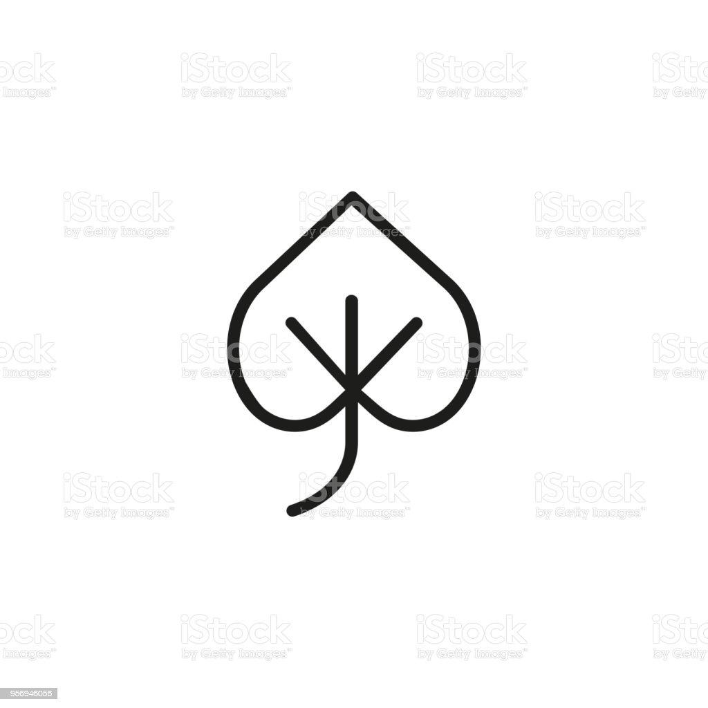 Linden leaf. Flat thin line illustration vector art illustration