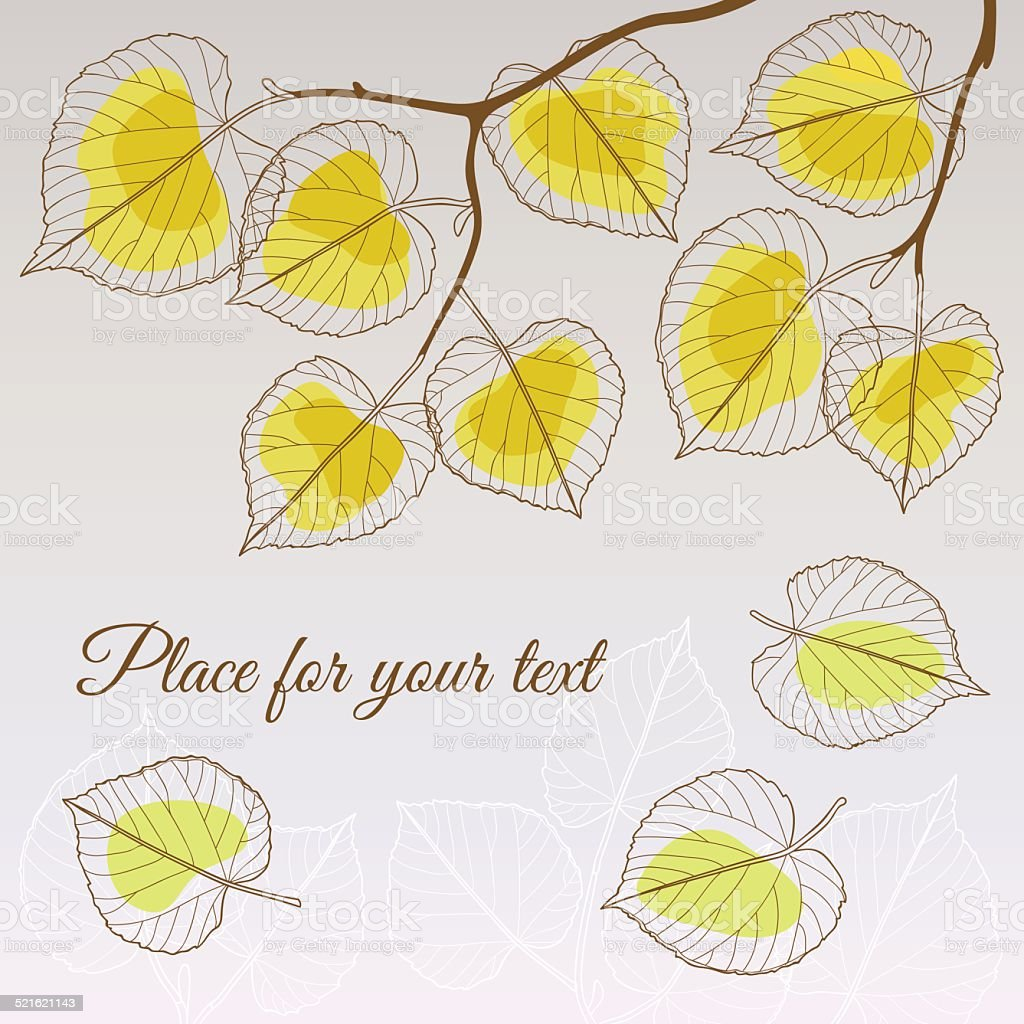 Linden leaf yellow style with place for your text vector art illustration