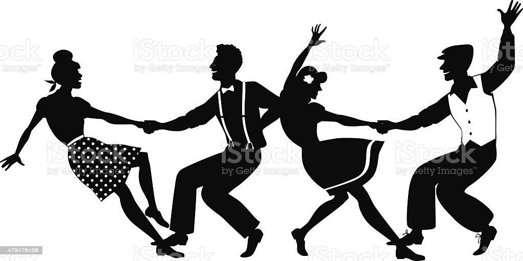 Lindy hop competition silhouette vector art illustration