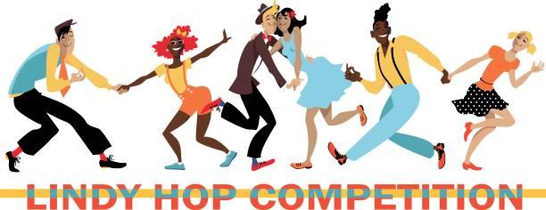 illustrazioni stock, clip art, cartoni animati e icone di tendenza di lindy hop competition - xx° secolo
