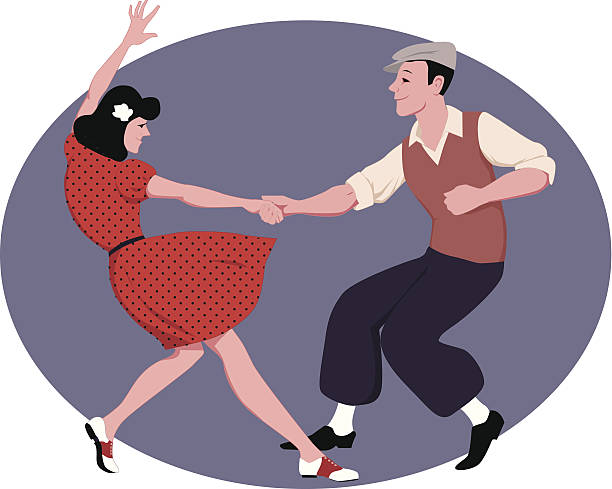 lindy hop - 1940s style stock illustrations, clip art, cartoons, & icons
