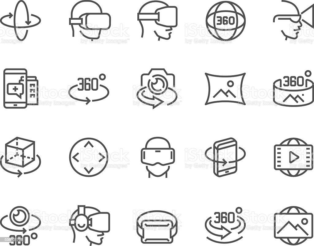 Line 360 Degree Icons vector art illustration
