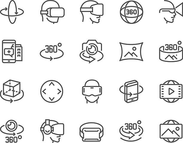 linie 360 grad-icons - panorama stock-grafiken, -clipart, -cartoons und -symbole