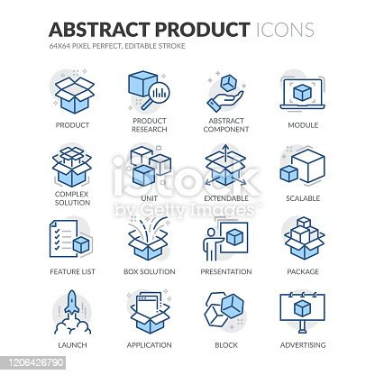 Simple Set of Abstract Product Related Vector Line Icons.  Contains such Icons as Product Research, Module, Application and more. Editable Stroke. 64x64 Pixel Perfect.