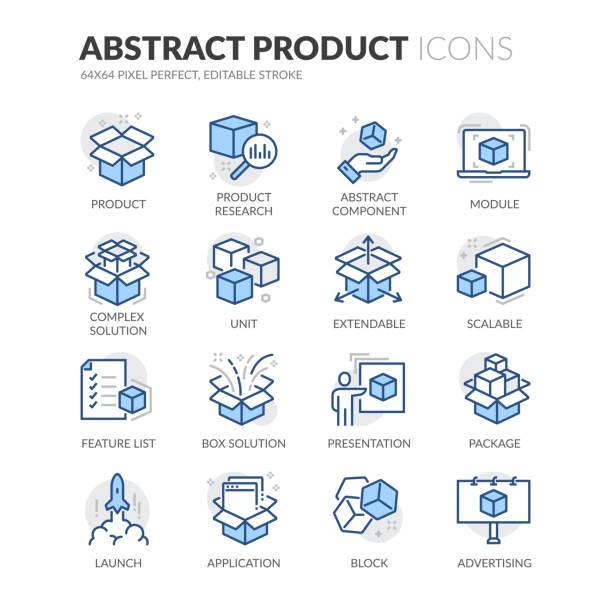 bildbanksillustrationer, clip art samt tecknat material och ikoner med ikoner för sammanfattning av linjeabstrakta produktfärg - paket