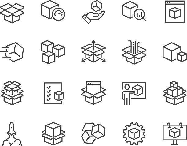 Line Abstract Product Icons Simple Set of Abstract Product Related Vector Line Icons. Contains such Icons as Unit, Module, Product Release, Presentation and more. Editable Stroke. 48x48 Pixel Perfect. for sale stock illustrations