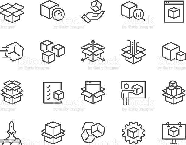 Simple Set of Abstract Product Related Vector Line Icons. Contains such Icons as Unit, Module, Product Release, Presentation and more. Editable Stroke. 48x48 Pixel Perfect.