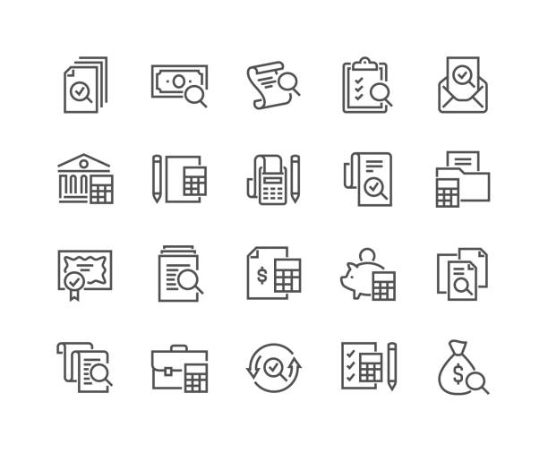 Line Accounting Icons Simple Set of Accounting Related Vector Line Icons. Contains such Icons as Finance Report, Portfolio, Calculation and more. Editable Stroke. 48x48 Pixel Perfect. accountancy stock illustrations