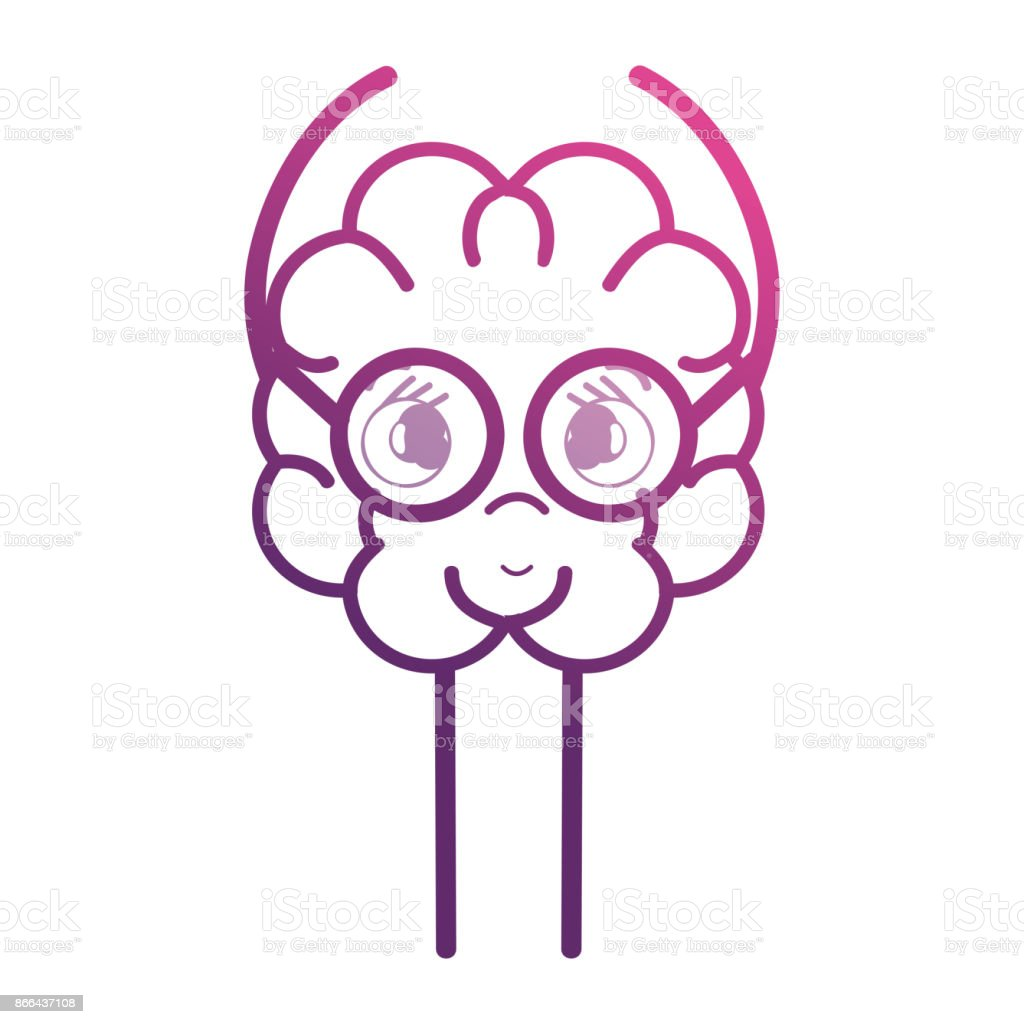 line adorable brain kawaii with glasses vector art illustration