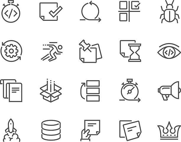 ilustraciones, imágenes clip art, dibujos animados e iconos de stock de line agile development icons - gastronomía fina