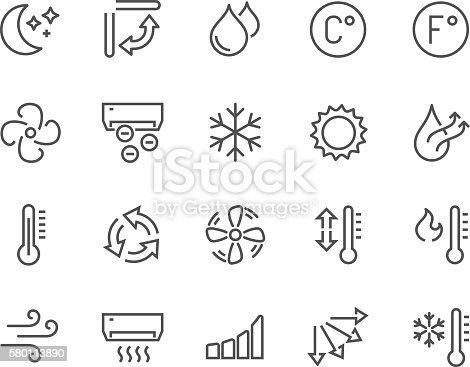 Simple Set of Air Conditioning Related Vector Line Icons. Contains such Icons as Cool, Humidity, Airing, Ionisation and more. Editable Stroke. 48x48 Pixel Perfect.