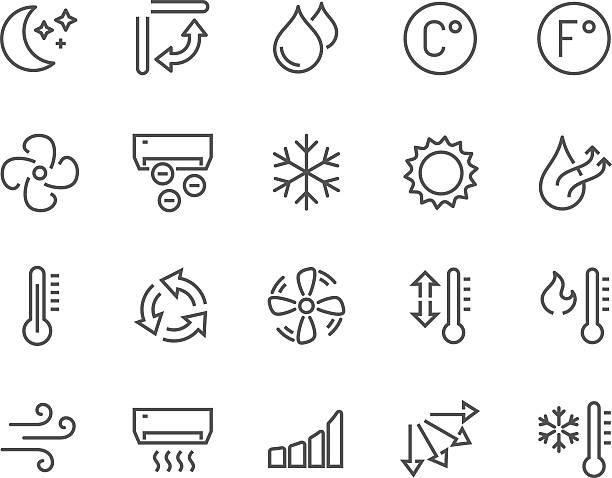 stockillustraties, clipart, cartoons en iconen met line air conditioning icons - droog
