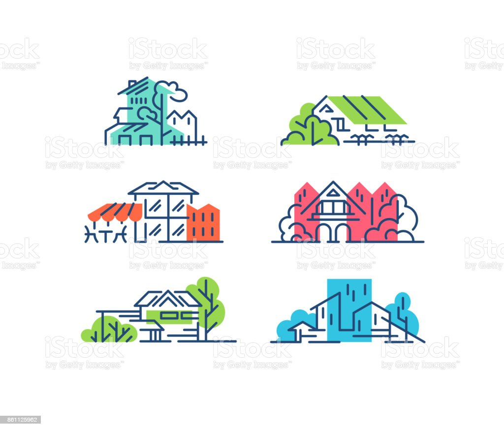 Line and color house, buildings' concepts. Urban cityscapes vector art illustration