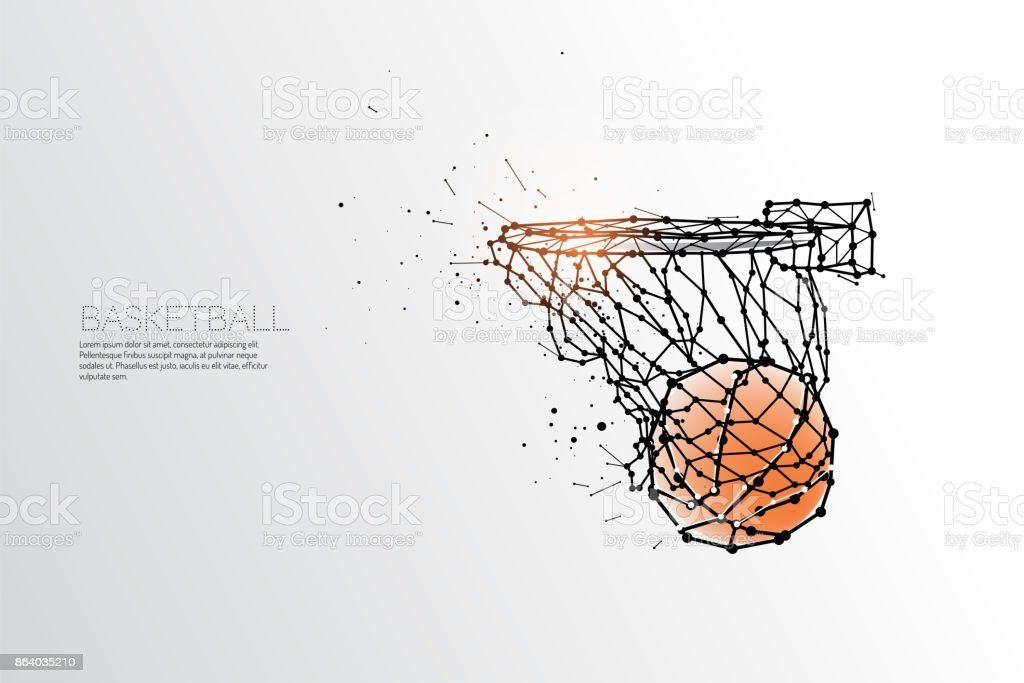 line and dot of basketball shooting. vector art illustration