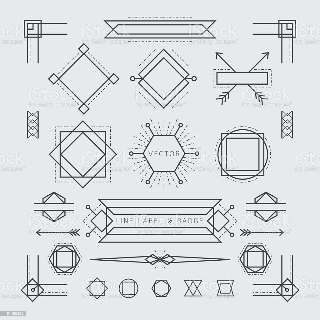 Line and Geometric Labels and Badges Monochrome vector art illustration