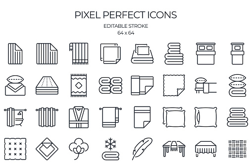 Line and home textile related editable stroke outline icons set isolated on white background flat vector illustration. Pixel perfect. 64 x 64.