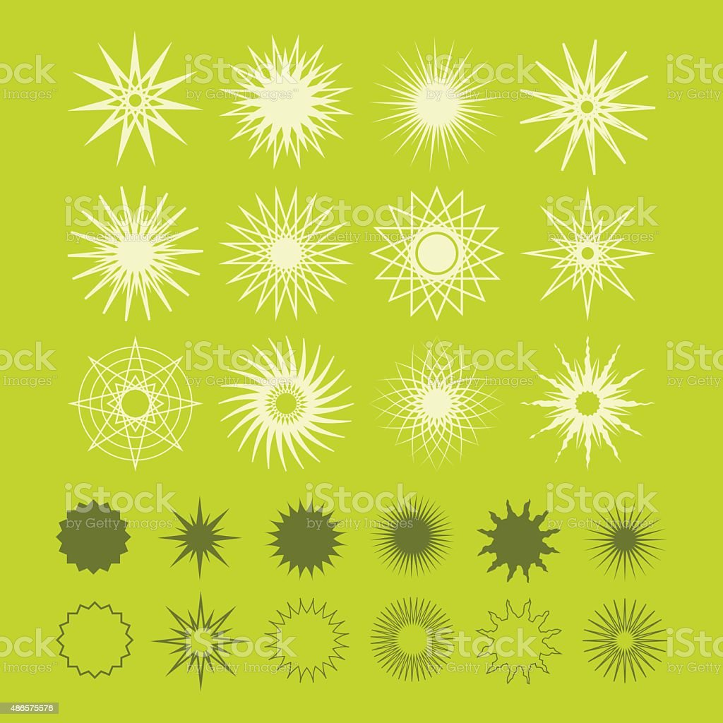 Line and silhouette geometrical poly gram stars icons set vector art illustration