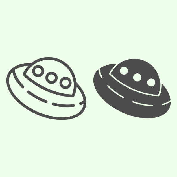 UFO line and solid icon. Outer space alien flying saucer outline style pictogram on white background. Exploration and research signs for mobile concept and web design. Vector graphics. UFO line and solid icon. Outer space alien flying saucer outline style pictogram on white background. Exploration and research signs for mobile concept and web design. Vector graphics ancient civilization stock illustrations