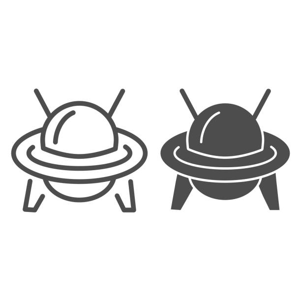 UFO line and solid icon, transportation symbol, Flying Saucer vector sign on white background, Ufo spaceship icon in outline style for mobile concept and web design. Vector graphics. UFO line and solid icon, transportation symbol, Flying Saucer vector sign on white background, Ufo spaceship icon in outline style for mobile concept and web design. Vector graphics ancient civilization stock illustrations