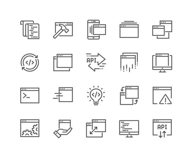 illustrations, cliparts, dessins animés et icônes de ligne d'icônes d'application - terminal aéroportuaire