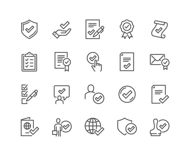 Line Approve Icons Simple Set of Approve Related Vector Line Icons.  Contains such Icons as Protection Guarantee, Accepted Document, Quality Check and more. Editable Stroke. 48x48 Pixel Perfect. insurance stock illustrations