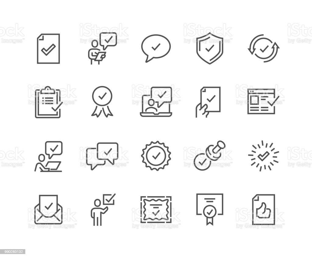 Line Approve Icons - Grafika wektorowa royalty-free (Aprobować)