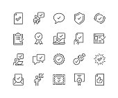 Simple Set of Approve Related Vector Line Icons. Contains such Icons as Inspector, Stamp, Check List and more. Editable Stroke. 48x48 Pixel Perfect.