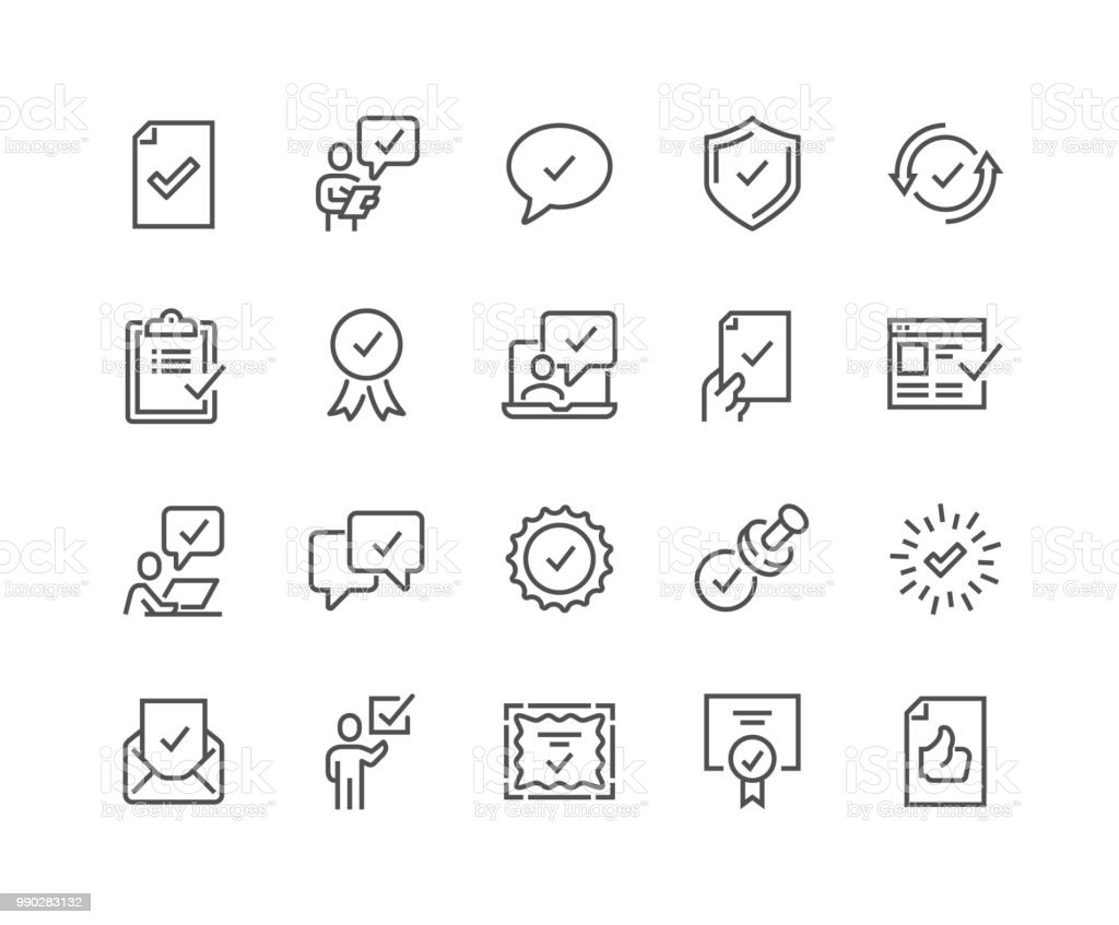 Line Approve Icons vector art illustration