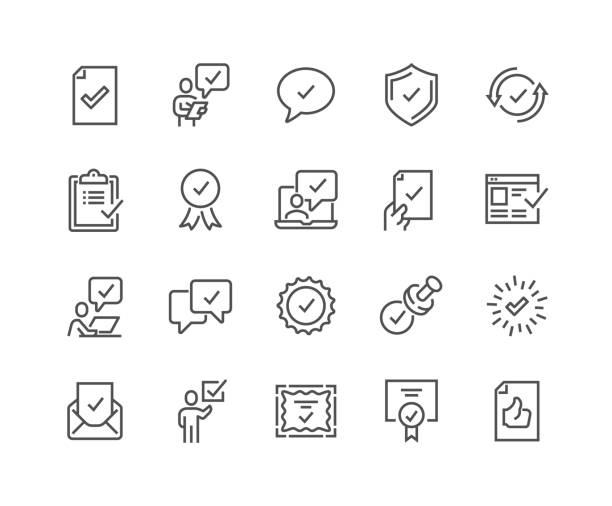 Line Approve Icons Simple Set of Approve Related Vector Line Icons. Contains such Icons as Inspector, Stamp, Check List and more. Editable Stroke. 48x48 Pixel Perfect. for sale stock illustrations