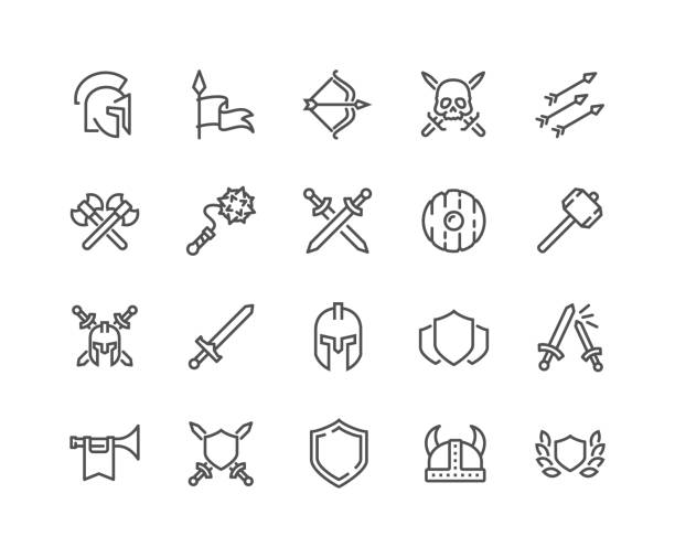 Line Archaic War Icons Simple Set of Archaic War Related Vector Line Icons.  Contains such Icons as Helmet, Sword, Shield and more. Editable Stroke. 48x48 Pixel Perfect. trooper stock illustrations