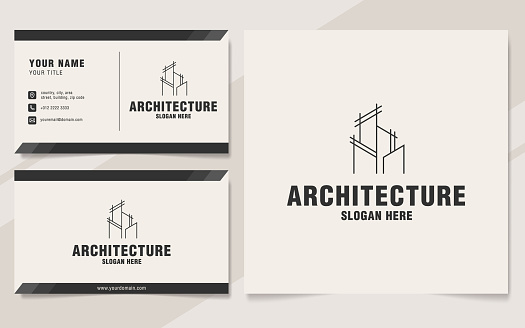 Line architecture logo template on monogram style