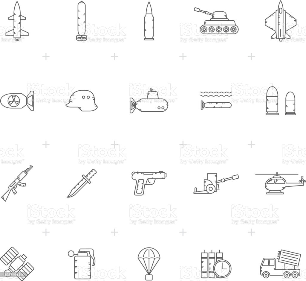 Line Army, weapon and arms Icons vector art illustration