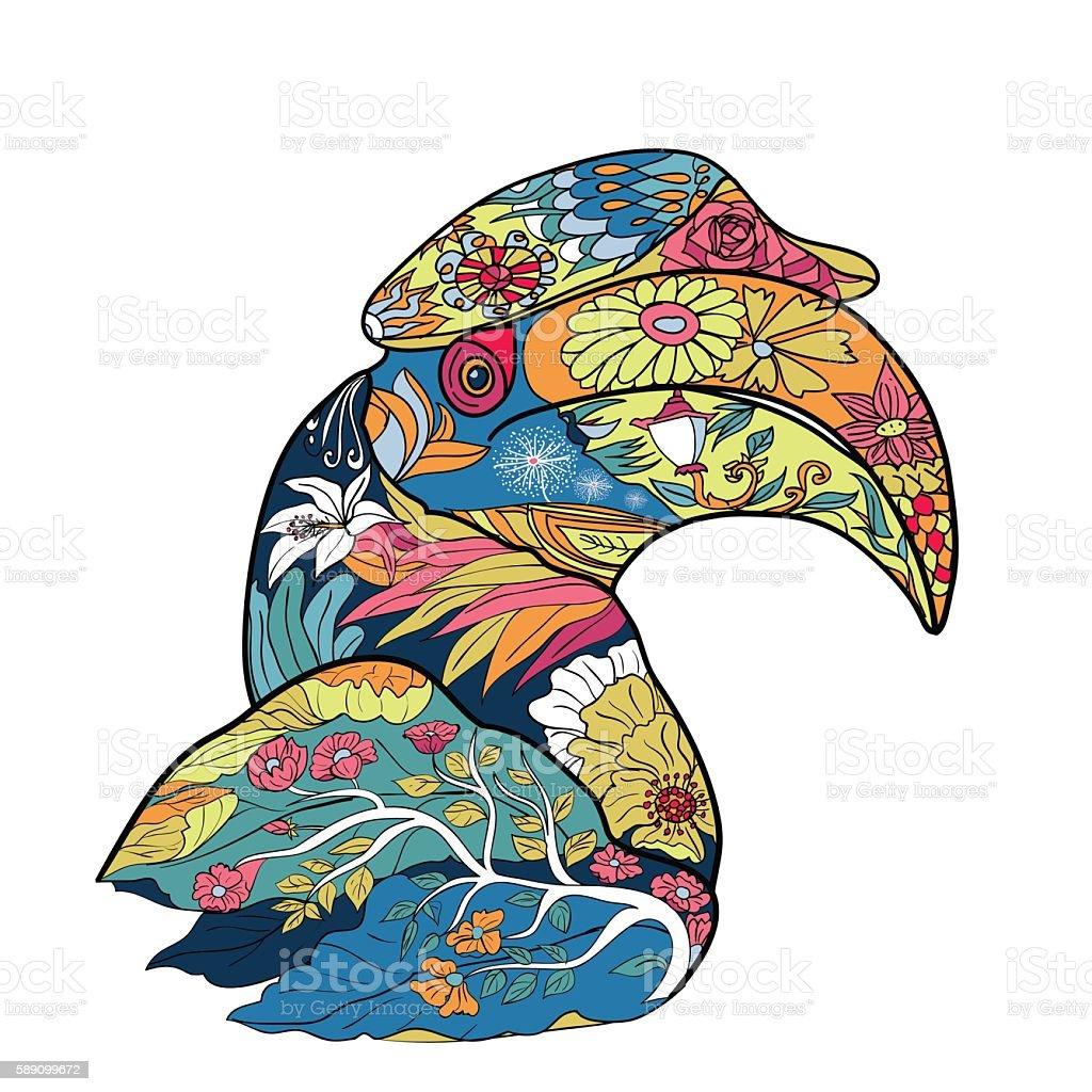 Line art and coloring of great hornbill bird vector art illustration