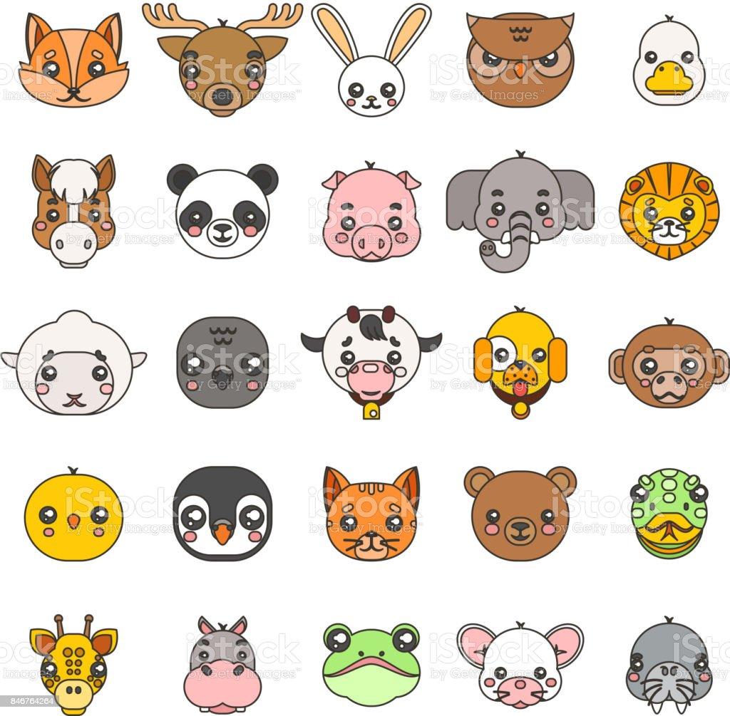 ライン アート動物かわいい赤ちゃん漫画カブス フラットなデザイン