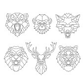 Line art animals heads in vector