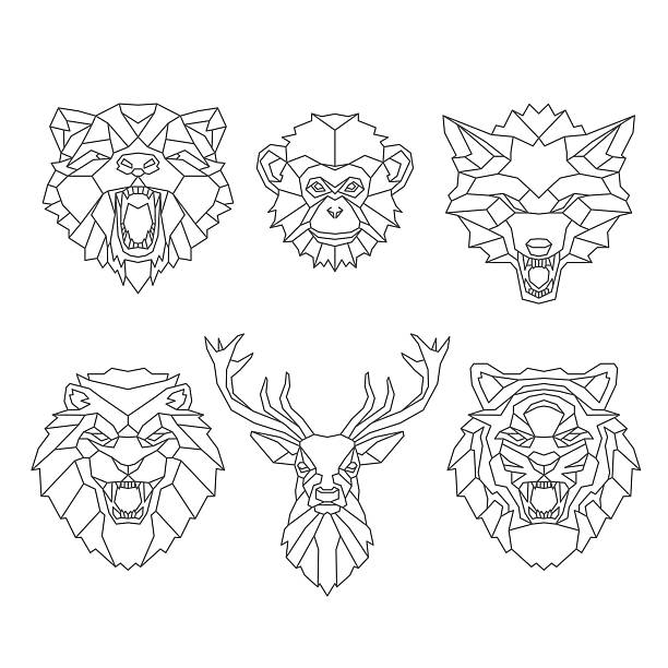 Line art animals heads vector art illustration