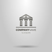 line art antique building logo